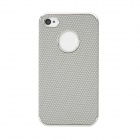 Protective Hexagonal Pattern Electroplated PU Leather Back Case for Iphone 4S / 4 - Gray