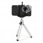 12X Zoom Telephoto Lens w/ TrIpod Mount + Back Case for Iphone 4S - Silver + Black