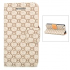 JILIS Classic Number 8 Pattern Protective PU Leather Case for Iphone 4S / 4 - Coffee + Black