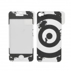 ITOP BD002 Shooting Target Pattern Matte PET Screen Film & Back Skin for Iphone 4S - Black + White