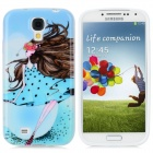 Cartoon Girl Pattern Protective TPU Back Case for Samsung Galaxy S4 / i9500 - Blue