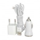 USB Car Charger + EU-Plug Wall Charger + Lightning Cable for iPhone 5 / iPad 4th + More - White