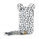 Sexy Leopard Pattern Plush Back Case w/ Cute Lugs & Tail for Iphone 4S / 4 - White + Black