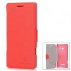 NILLKIN Protective Leather + Plastic Flip-Open Case for Huawei Ascend W1 - Red