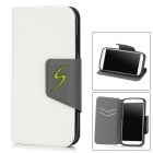 Stylish Flip-Open PU Leather + TPU Stand Case for Samsung Galaxy S4 / i9500 - White + Grey