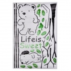 JiaMing JM7025 Bear Pattern Decorative PVC Wall Paper Sticker - Black + Green (60 x 90cm)