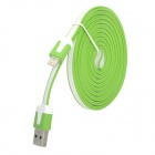 Stylish USB Male to Lightning Male Charging & Data Sync Flat Cable for iPhone 5 - Green (300cm)