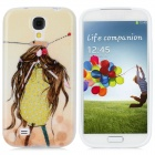 Cartoon Girl Pattern Protective TPU Back Case for Samsung Galaxy S4 / i9500 - Yellow