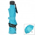 HQS-G102187 UV Protection Changing into Flower Pattern in Rain Magical Umbrella - Blue + Black