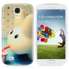 Protective Rabbit Pattern TPU Case for Samsung Galaxy S4 i9500 - Green Beige + Blue