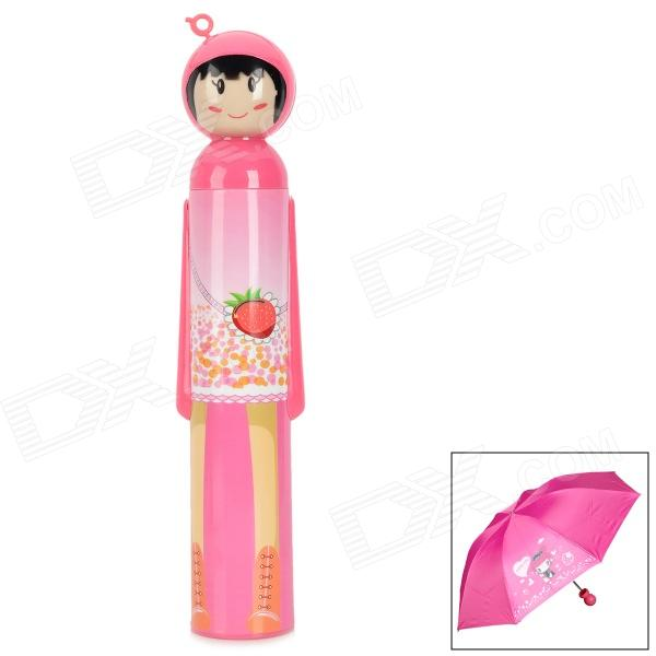 BS-C21-2604-H798 Cute Cartoon Pattern UV Protection Umbrella - Deep Pink + Silver