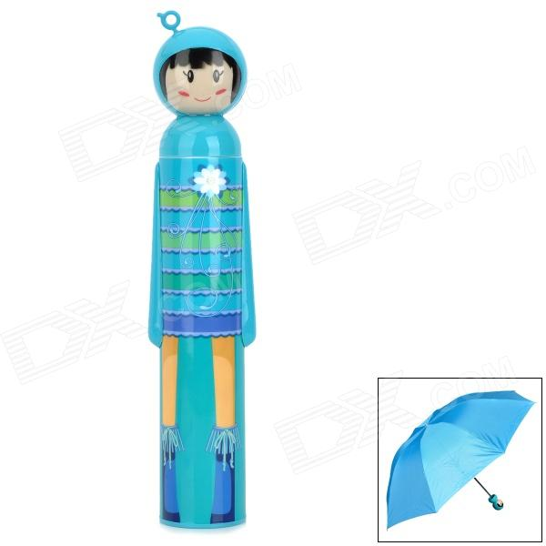 BS-C21-2602-H799 Cute Cartoon Pattern UV Protection Umbrella - Blue + Silver