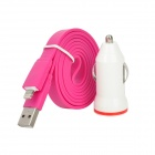 USB Car Charger + Lightning Data Sync & Charging Cable for iPhone 5 / iPad 4 - Deep Pink