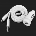 Mini USB Car Charger + USB to Lightning Data Sync & Charging Cable for iPhone 5 / iPad 4 - White