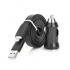 Mini USB Car Charger + USB Lightning Data Sync & Ladekabel für iPhone 5 / iPad 4 - Schwarz