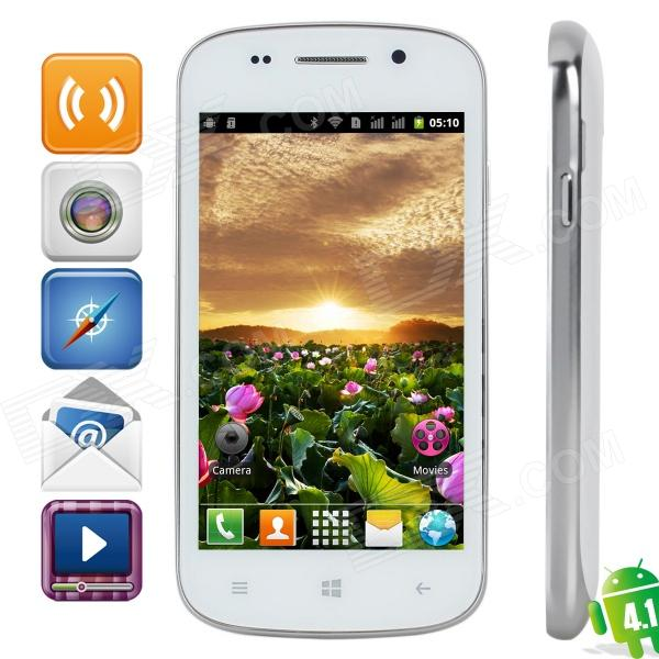 S7 R830 Android 4.1 GSM Bar Phone w/ 4.0″ Capacitive Screen, Quad-Band and Wi-Fi – White + Silver