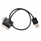 3-in-1 USB Data/Charging Cable for iPhone 5 + Samsung + HTC - Black (30 CM)