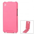 HOCO Protective Cow Leather Up-Down-Flip-open Tasche für HTC One M7 w / Stand - Deep Pink