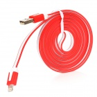 MTX-8 USB Male to 8 Pin Lightning Male Charging Data Cable for iPhone 5 - Red + White (200CM)