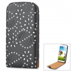 Protective Hollow Out Flower Style PU Leather Case for Samsung Galaxy S4 i9500 - Black + Silver