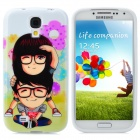 Protective Cartoon Lovers Pattern Back Case for Samsung Galaxy S4 i9500 - Black + Yellow + Pink