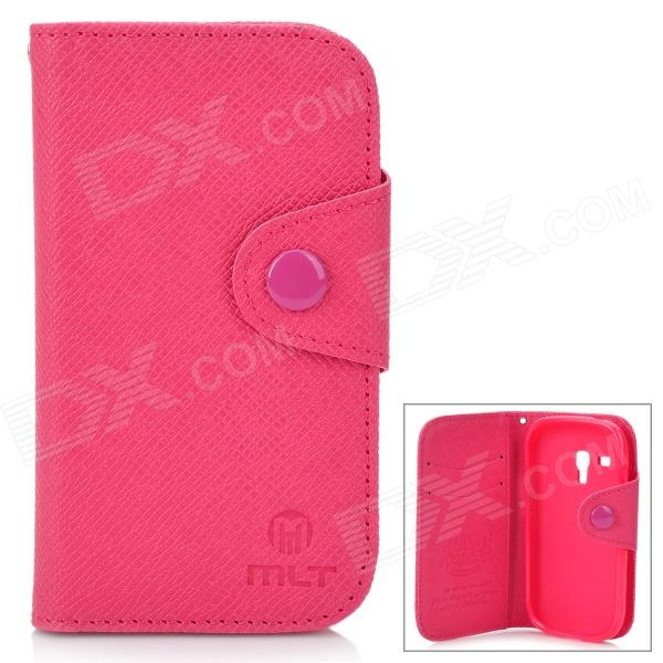 Protective Flip-Open PU Leather Case for Samsung i8190 Galaxy S3 Mini - Deep Pink + Pink protective pu leather flip open case w stand for samsung note 3 n9000 deep pink light green