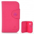 Protective Flip-Open PU Leather Case for Samsung i8190 Galaxy S3 Mini - Deep Pink + Pink
