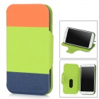 Protective PU Leather Flip-open Case w/ Stand for Samsung i9500 - Orange + Green + Deep Blue
