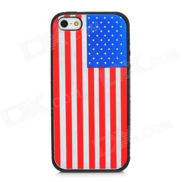 US National Flag Protective Silicone Back Case for Iphone 5 - Black + Red + White + Blue protective cartoon silicone back case for iphone 4 4s red white