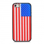 US National Flag Protective Silicone Back Case for Iphone 5 - Black + Red + White + Blue