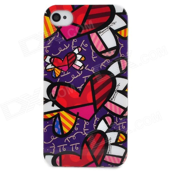Graffiti Style Protective Plastic Back Case for Iphone 4S - Purple + Red + White + Black stylish bubble pattern protective silicone abs back case front frame case for iphone 4 4s