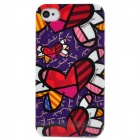 Graffiti Style Protective Plastic Back Case for iPhone 4S - Purple + Red + White + Black