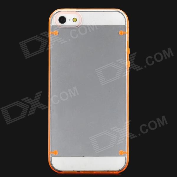 Glow-in-the-Dark Protective TPU + PC Back Case for Iphone 5 - Transparent + Orange