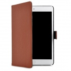 Lichee Pattern Protective PU Leather Case for iPad Mini - Coffee + Black