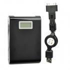 "Dual USB 12,000mAh Emergency Battery Charger w/ LED Flashlight / 1.5"" LCD Power Reminder - Black"