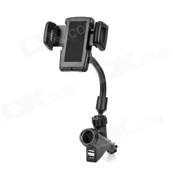 Car Mount 360 Degrees Rotation Holder w/ Dual USB Car Charger for Iphone / Ipad / Ipod - Black
