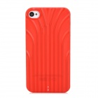 Protective 3D Line Style Plastic Back Case for Iphone 4 / 4S - Translucent Red