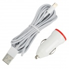 Car Charger w/ USB Male to 8 Pin Lightning Male Charging Cable for iPhone 5 - White + Red