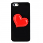 Protective 3D Heart Style Back Case for Iphone 5 - Black + Red