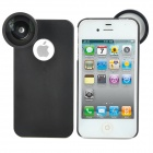 Super Wide Angle 0.4X Zoom Cellphone Lens w/ Protective Back Case for iPhone 4 / 4S - Black + Silver