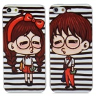 Cute Lovers Pattern Protective Back Cases Set for Iphone 5 - Black + White + Brown + Red (2 PCS)