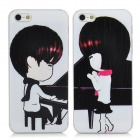 Lovers Boy + Girl Protective Plastic Back Case for Iphone 5 - White + Black + Red (2 PCS)