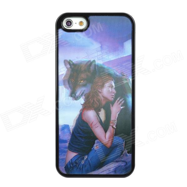 Naked Eye 3D Beautiful Girl & Wolf Style Protective PVC Back Case for Iphone 5 - Black сотовый телефон micromax q4310 canvas 2 chrome black