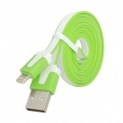 USB 2.0 to 8-Pin Lightning Data / Charging Flat Cable for iPhone 5 - Green + White