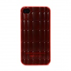 Protective 3D Bamboo Style Plastic Back Case for Iphone 4 / 4S - Translucent Red