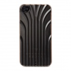 Protective 3D Line Style Plastic Back Case for Iphone 4 / 4S - Translucent Coffee