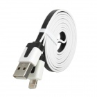 USB 2.0 to 8-Pin Lightning Data / Charging Flat Cable for iPhone 5 - Black + White
