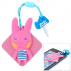 Cartoon Rabbit Style Silicone 3.5mm Anti-Dust Plug w/ Cleaning Cloth + Strap - Pink + Blue + White