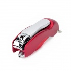 2-in-1 Nail Clipper + Folding Blue Ink Ballpoint Pen - Red + Silver