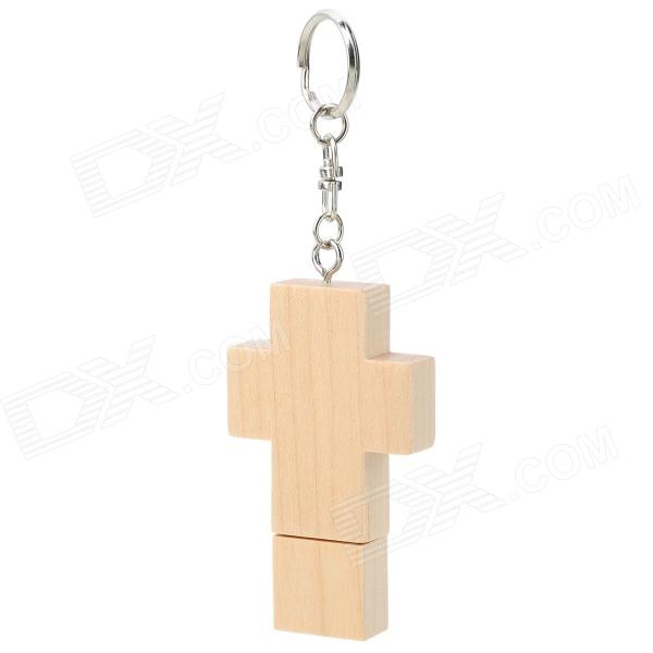 MUT-09 Cross Shape Wood + Iron USB 2.0 Flash Drive Disk - Beige + Silver (8GB) чайник со свистком 2 4 л rondell premiere rds 237